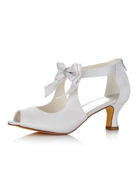 Milanoo White Wedding Shoes Satin Peep Toe Bow Zip Up Bridal Shoes For Women