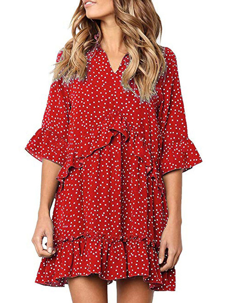 Milanoo Shirt Dresses Red V-Neck Half Sleeves Polka Dot Ruffle Polyester Summer Dress