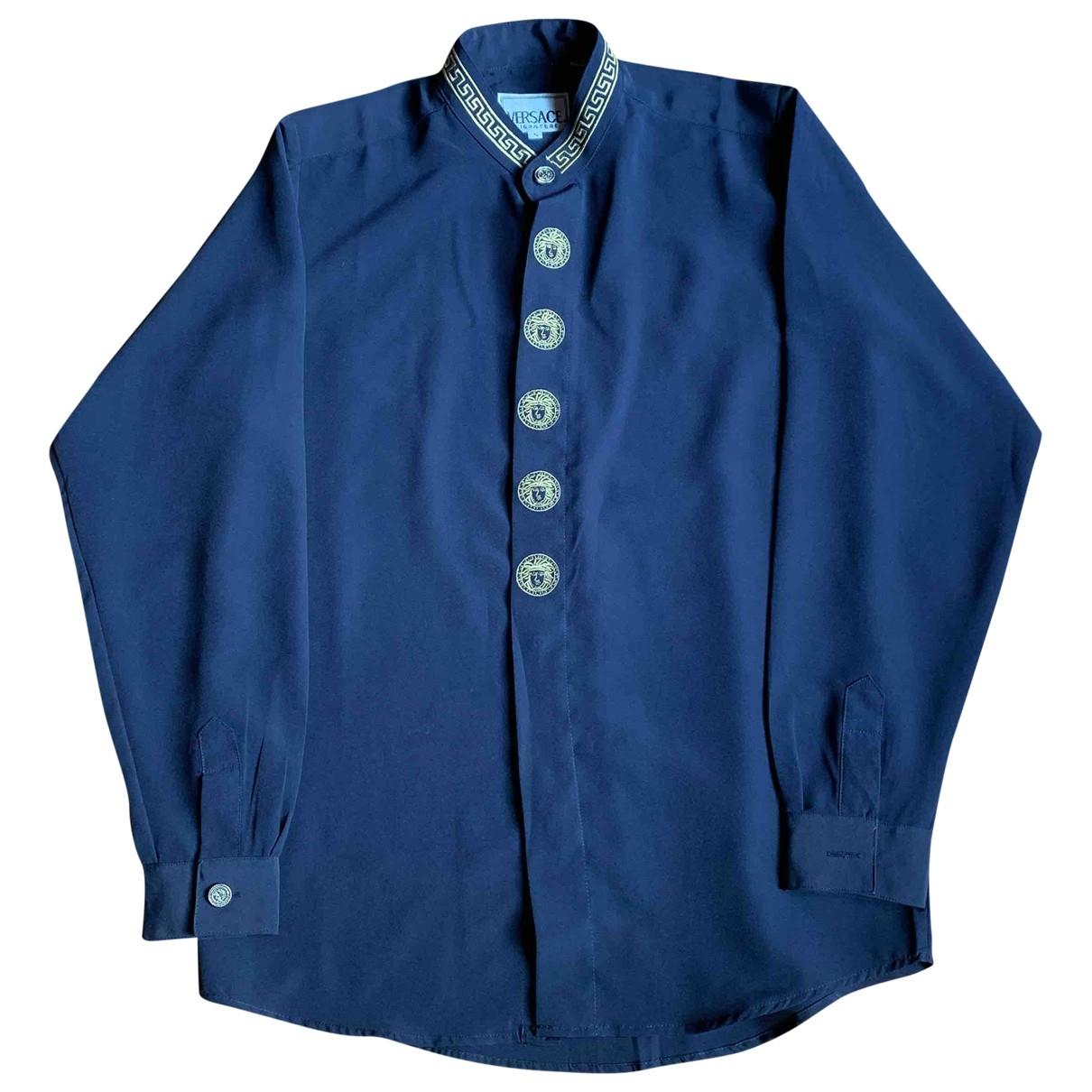 Gianni Versace \N Hemden in  Blau Synthetik