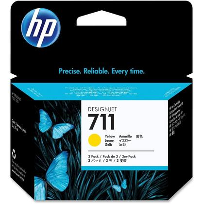 HP 711 CZ136A Original Yellow Ink Cartridge - 3/Pack