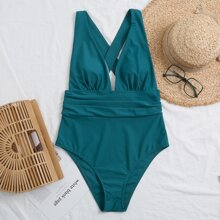 Ruched Cross Back One Piece Swimsuit