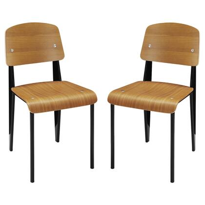 Cabin Collection EEI-1262-WAL Set of 2 Side Chairs with Plywood Backrest and Seat  Tapered Legs  Natural Wood Varnish Coating and Powder-Coated