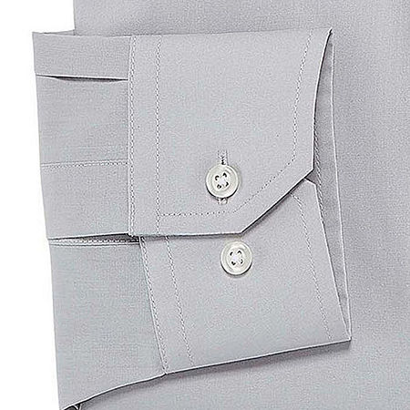 Stafford Mens Travel Easy-Care Broadcloth Stretch Fitted Dress Shirt, 15.5 36-37, Gray