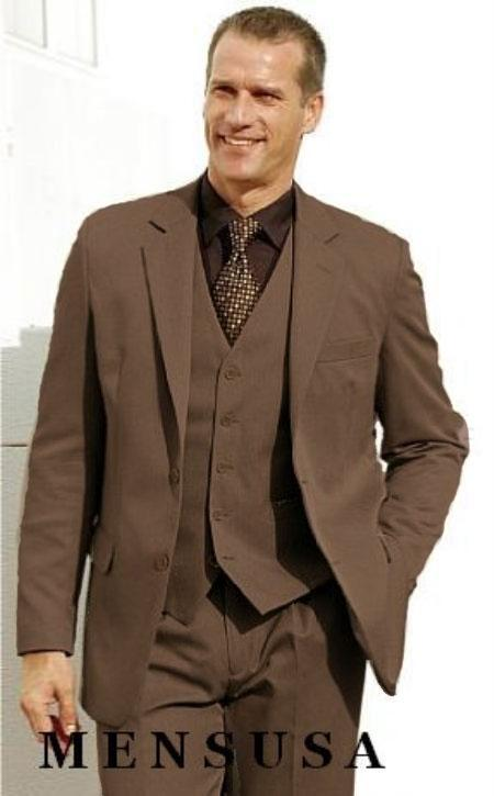 Mens Brown 2 Button Vested 3 Piece Suit Wool Feel Notch Lapel Vented