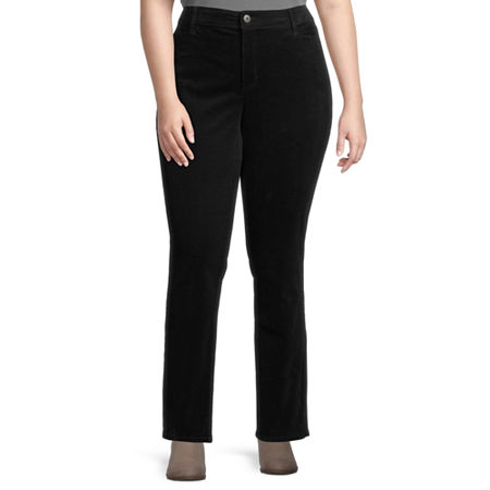 St. John's Bay Womens Mid Rise Straight Corduroy Pant - Plus, 20w , Black