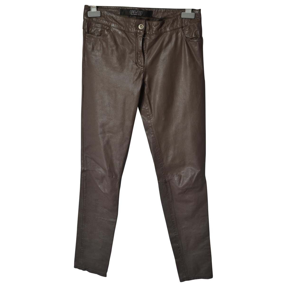 Oakwood \N Brown Leather Trousers for Women 38 FR