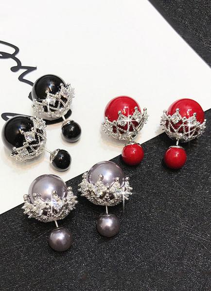 Milanoo White Stud Earrings Elegant Pearls Pierced Ear Pins For Women