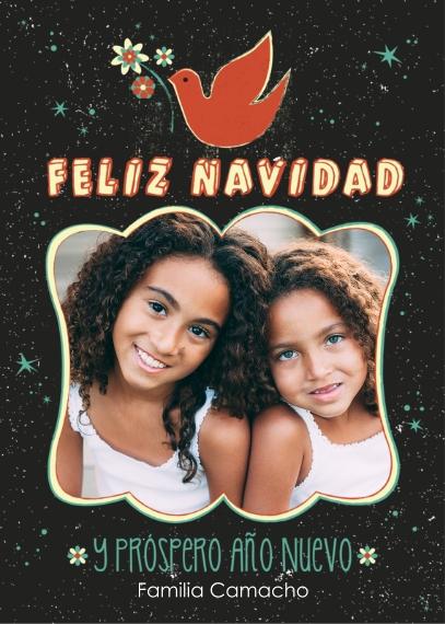 Tarjetas de Navidad Mail-for-Me Premium 5x7 Folded Card , Card & Stationery -Star & Dove Feliz Navidad