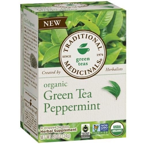 Organic Green Tea Peppermint 16 Bag by Traditional Medicinals Teas