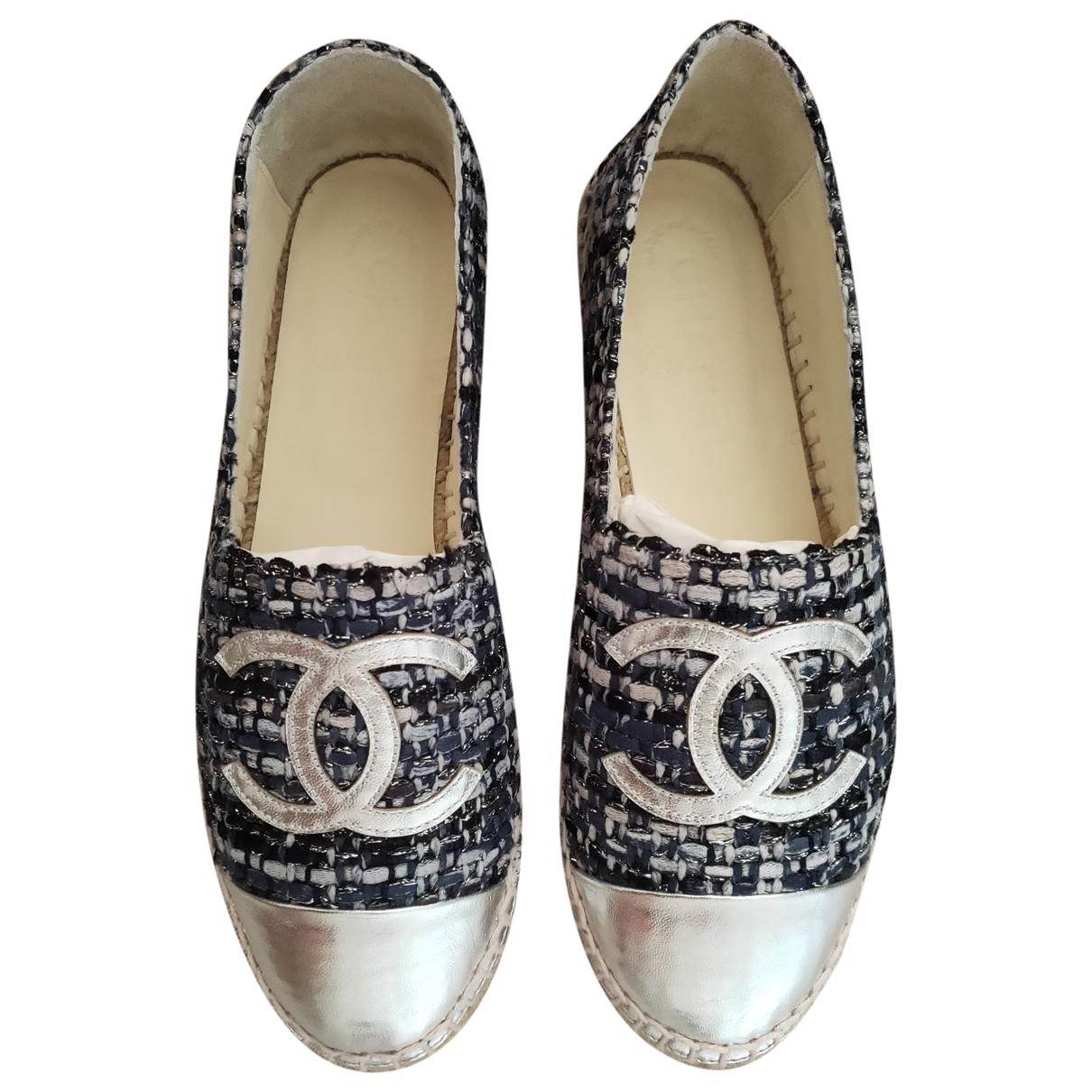 Chanel - Espadrilles   pour femme en toile - argente