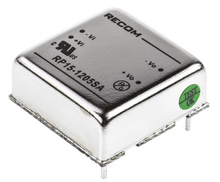 Recom RP15 A 15W Isolated DC-DC Converter Through Hole, Voltage in 9 → 18 V dc, Voltage out 5V dc