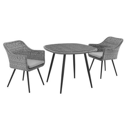 Endeavor Collection EEI-3182-GRY-GRY-SET 3 PC Outdoor Patio Wicker Rattan Dining Set in Grey Grey