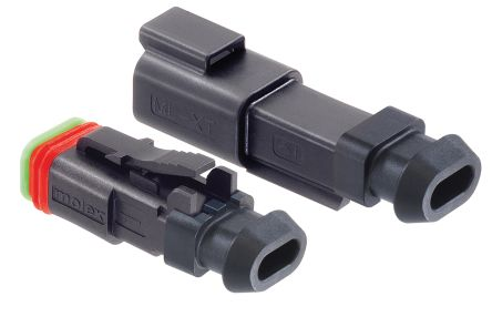 Molex Automotive Connector Plug 1 Row 2 Way, Crimp Termination, Black (100)