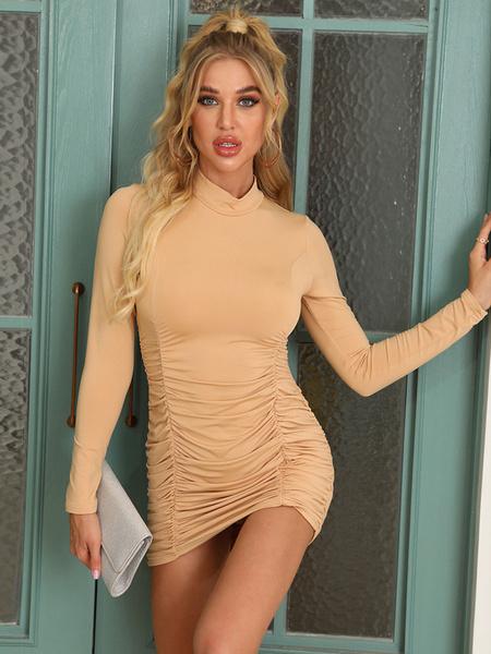 Milanoo Women\'s Bodycon Dresses White Long Sleeves Pleated Sexy Jewel Neck Sheath Dress
