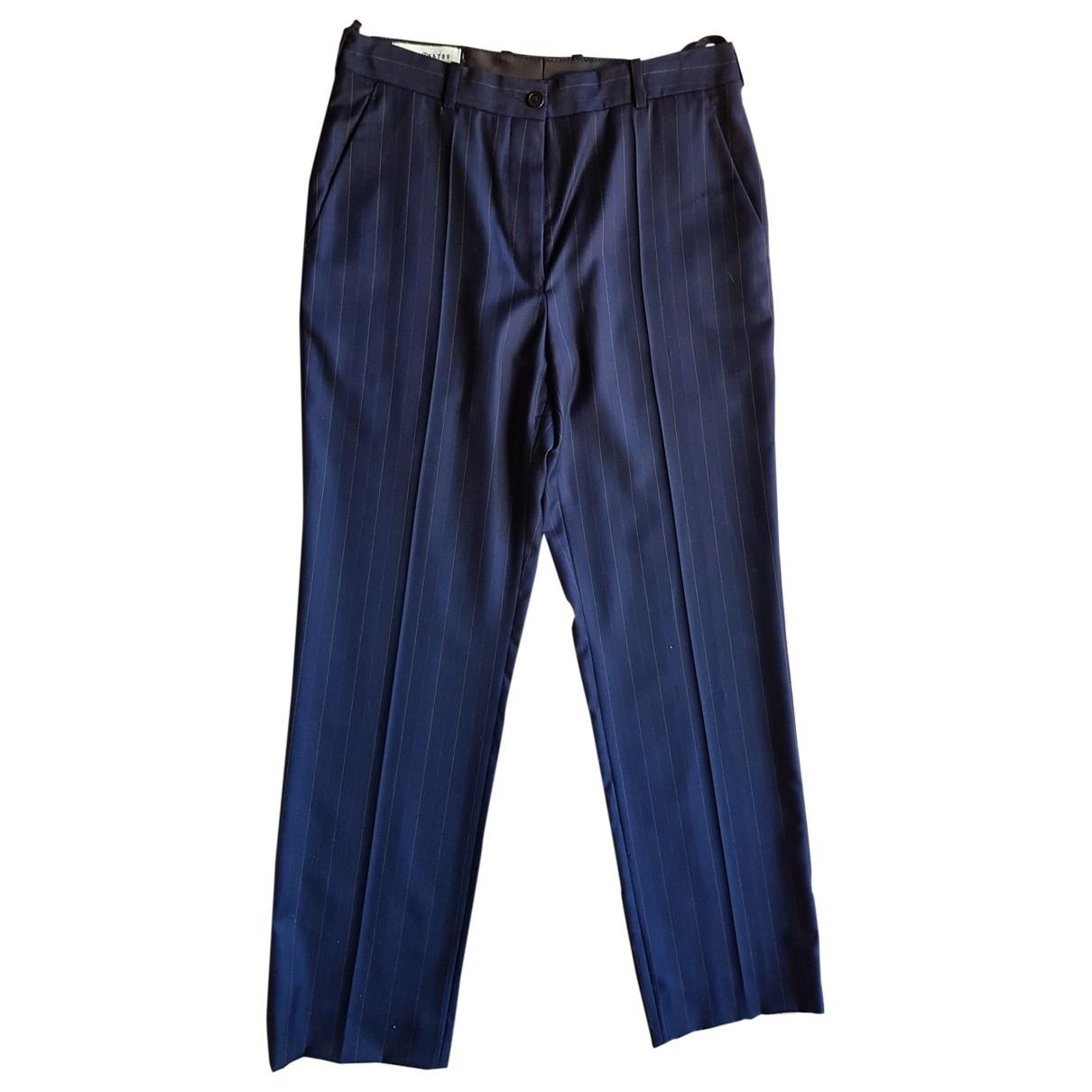 Maison Martin Margiela \N Navy Wool Trousers for Women 42 IT