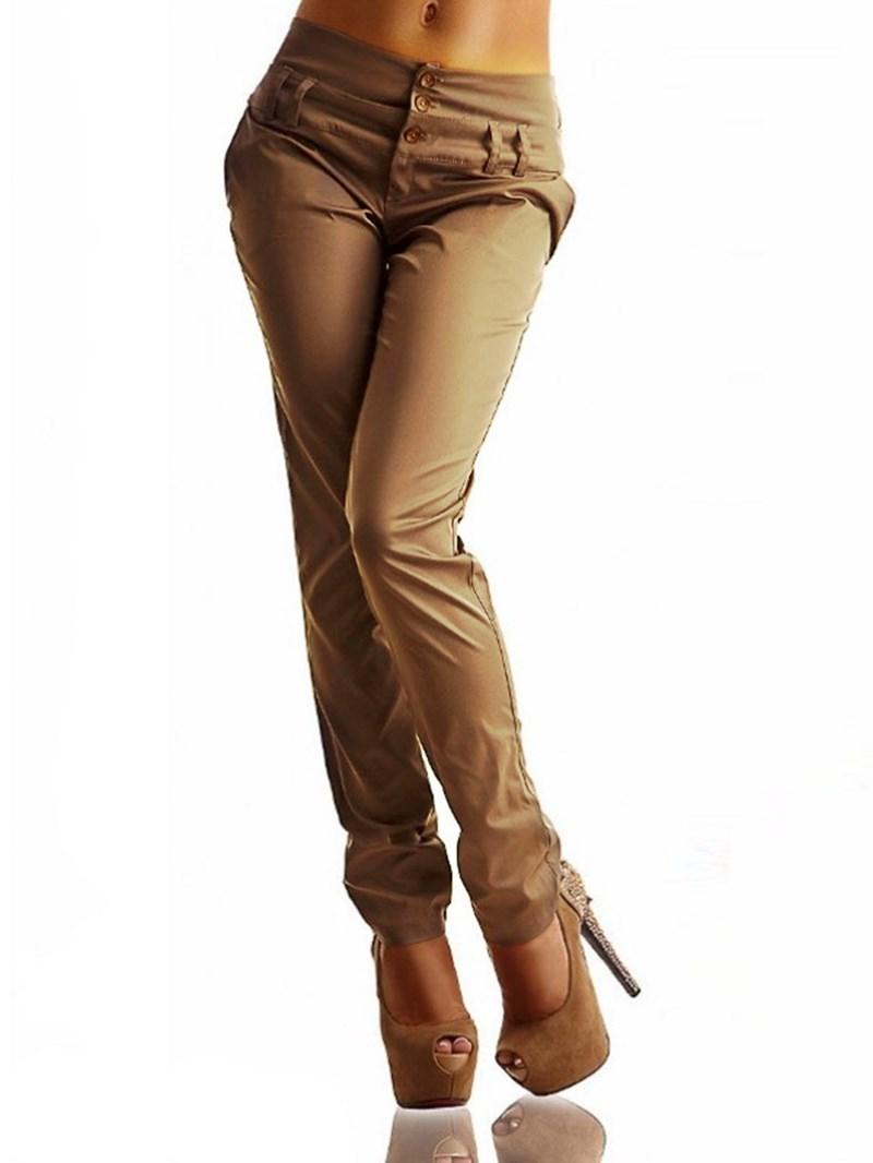 Ericdress Button Plain Slim Women's Pants