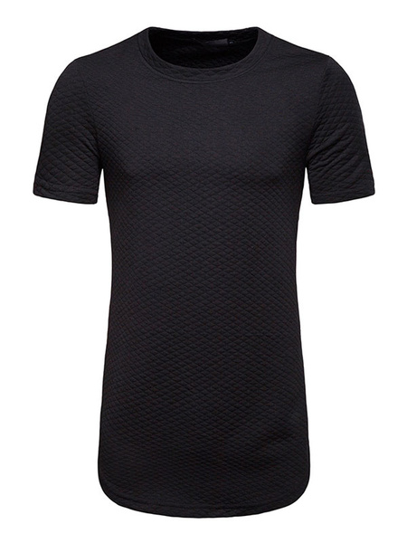 Milanoo Black Casual T Shirt Crewneck Diamond Pattern Zipper Decor Short Sleeve Longline T Shirt For Men