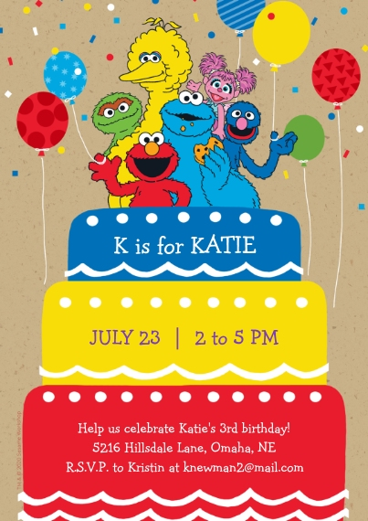Kids Birthday Party Flat Glossy Photo Paper Cards with Envelopes, 5x7, Card & Stationery -Sesame Street® Birthday Cake by Hallmark