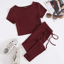 Solid Rib-knit Tee and Tie Front Leggings Set