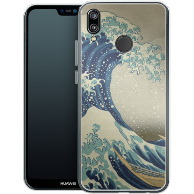 Huawei P20 Lite Silikon Handyhuelle - Great Wave Off Kanagawa By Hokusai von caseable Designs
