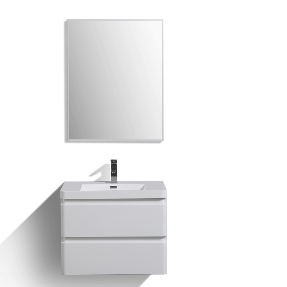 Eviva Glazzy 30 inch Glossy White Wall Mount Modern Bathroom Vanity with White Integrated Acrylic Top (18 to 34 Inches - Modern & Contemporary -