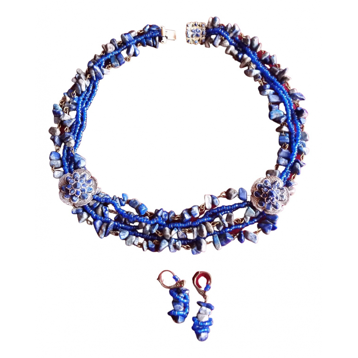 Non Signé / Unsigned Lapis lazuli Blue Pearls Jewellery set for Women \N