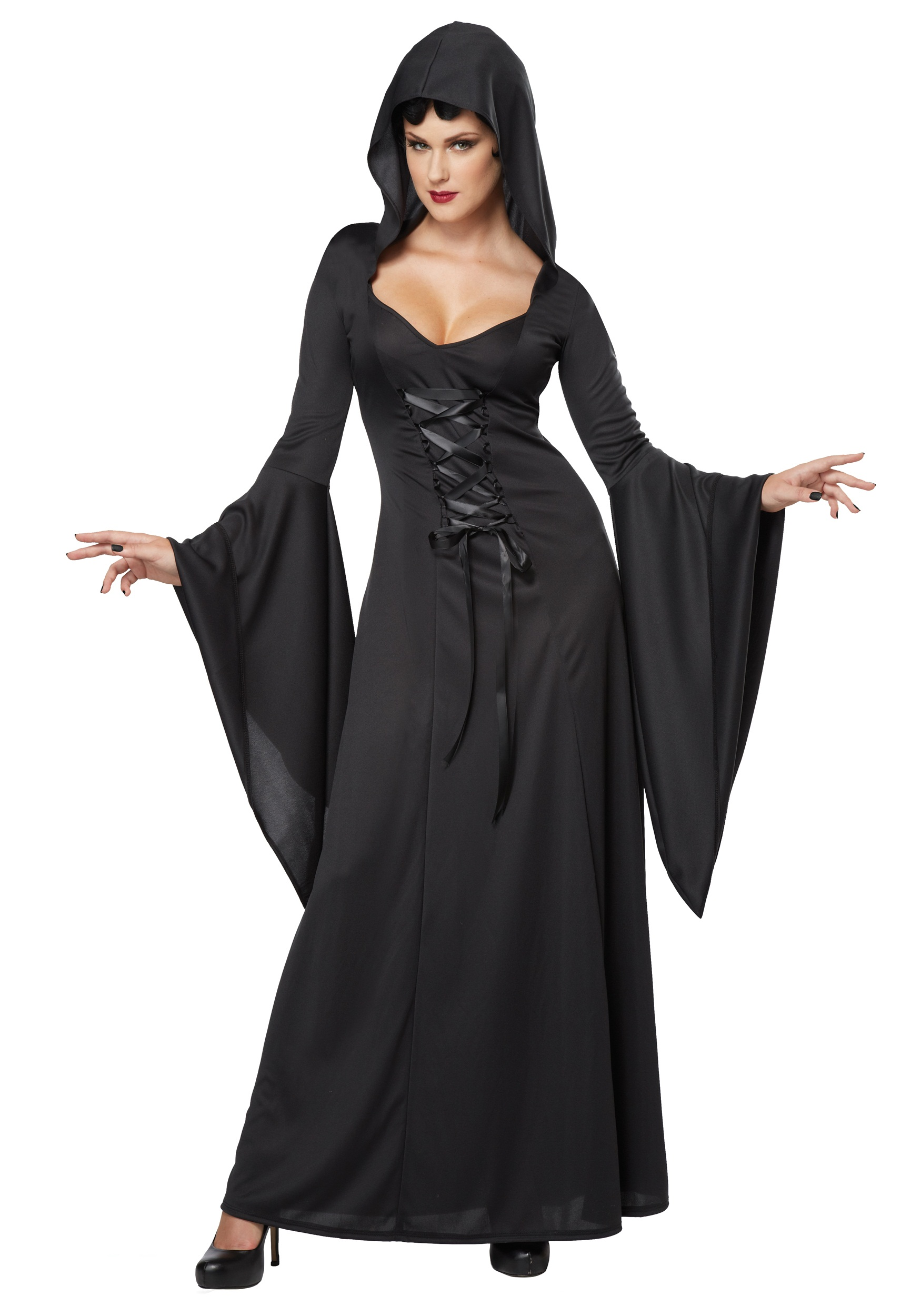 Women's Hooded Black Lace Up Robe Costume