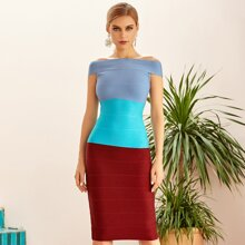 Adyce vestido de vendaje de hombros descubiertos de color combinado