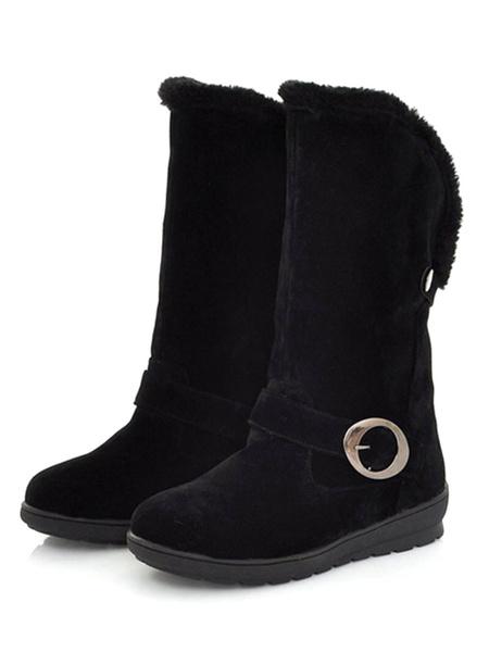 Milanoo Women Winter Boots Suede Round Toe Flat Snow Booties