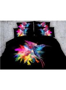 3D Colorful Hummingbird Printed Cotton 4-Piece Black Bedding Sets/Duvet Covers