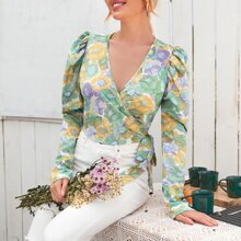 Floral Gigot Sleeve Tie Side Wrap Blouse