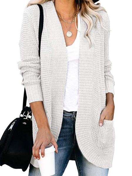 Milanoo Sweaters Cardigans Light Gray Acrylic Pockets Long Sleeves Women\'s Cardigans