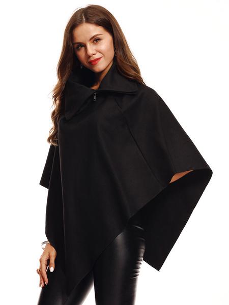 Milanoo Women Cape Coat Half Sleeve Turndown Collar Zip Oversized Poncho Coat
