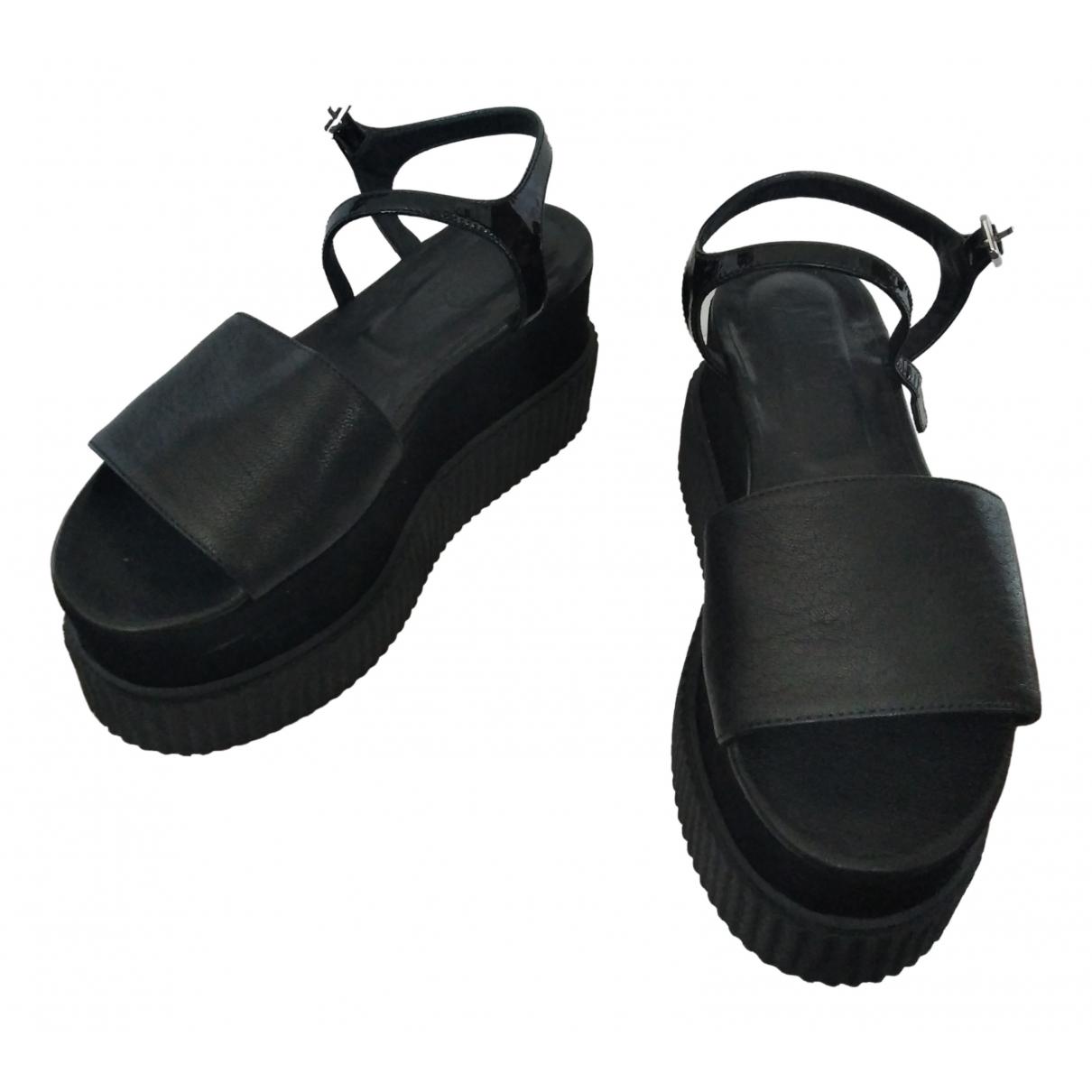 Mm6 - Sandales   pour femme en cuir - noir