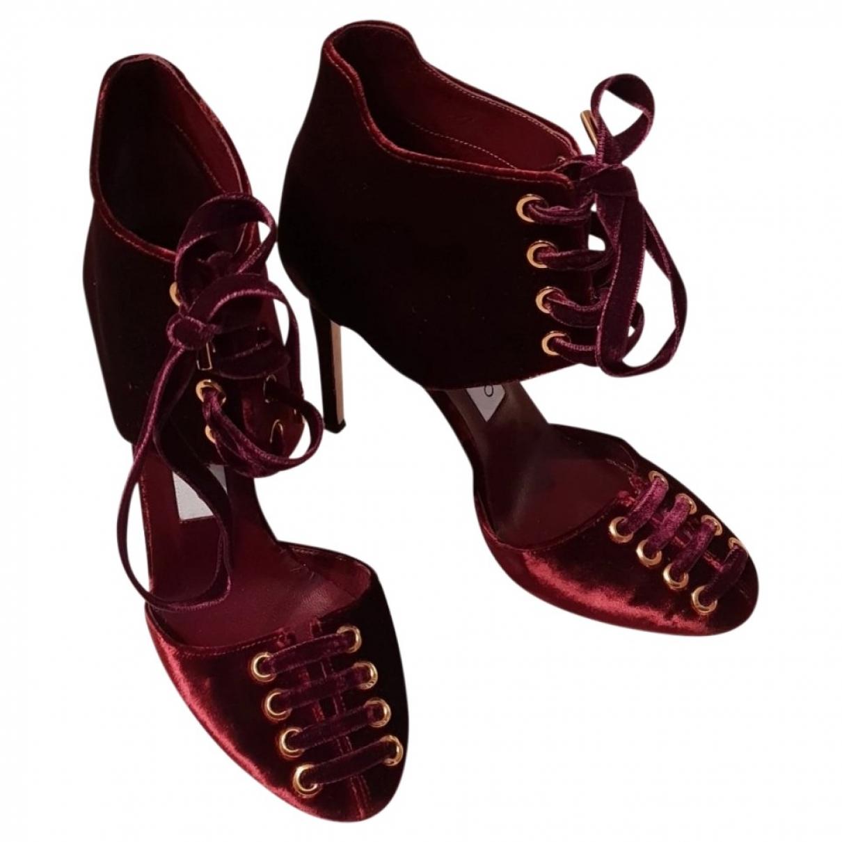 Jimmy Choo \N Burgundy Velvet Sandals for Women 36 EU