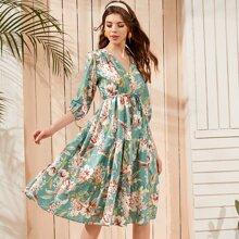 Floral Print Ruffle Hem Belted Dress
