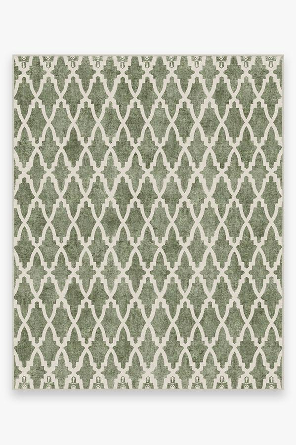 Washable Rug Cover | Soraya Trellis Sage Rug | Stain-Resistant | Ruggable | 8'x10'
