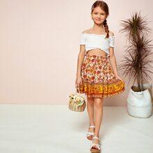 Conjunto de niñas top de hombros descubiertos fruncido cruzado ribete fruncido con falda floral