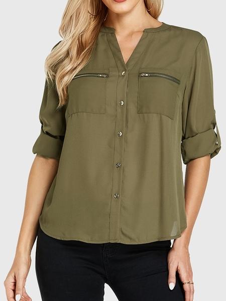 YOINS Army Green V-neck Pocket Design Long Sleeves Blouse