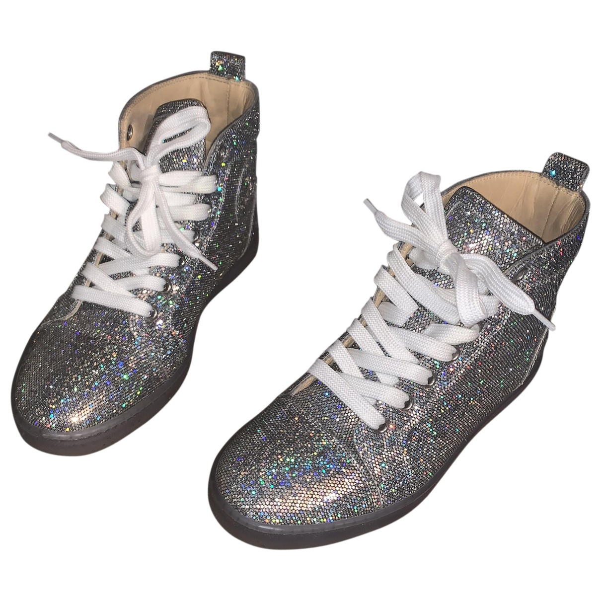 Christian Louboutin Louis Silver Glitter Trainers for Women 35.5 EU