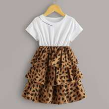 Toddler Girls Tiered Layer Graphic Combo Dress