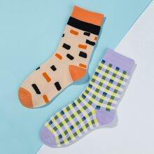 2 Paare Socken mit Karo Muster