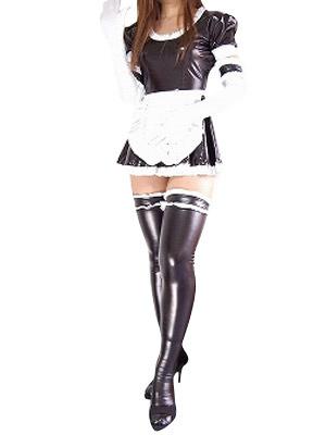 Milanoo Halloween Black Sexy Maid Style Shiny Metallic Dress