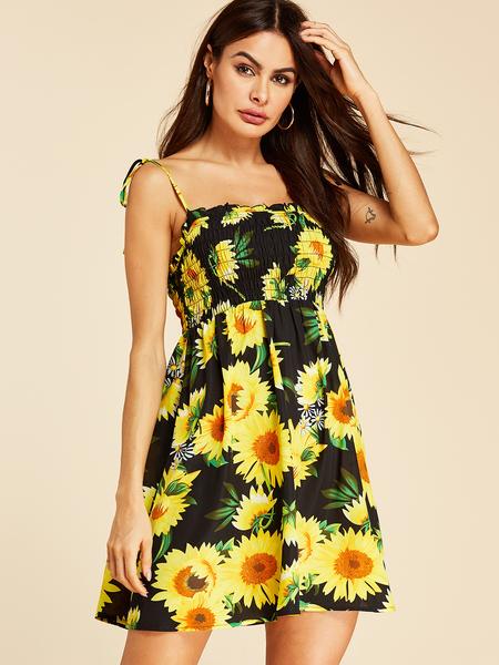 YOINS Black Adjustable Shoulder Straps Floral Print Sleeveless Dress