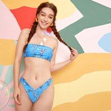 Bandeau Bikini Badeanzug mit Pflanzen Muster und hohem Ausschnitt