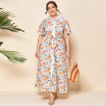 Hemdkleid mit Blumen Muster, Rueschenbesatz und Guertel
