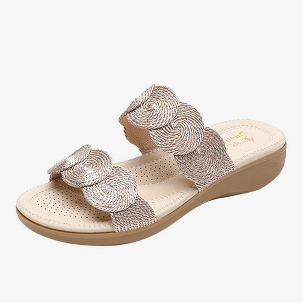 Women Bohemian Double Band Woven Beach Casual Wedges Slippers