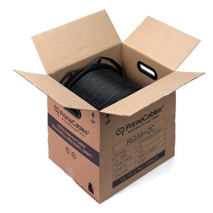 PrimeCables®Câble RG59 coaxial Siamois en vrac pour caméra de sécurité CCTV CM Note Noir 1000ft