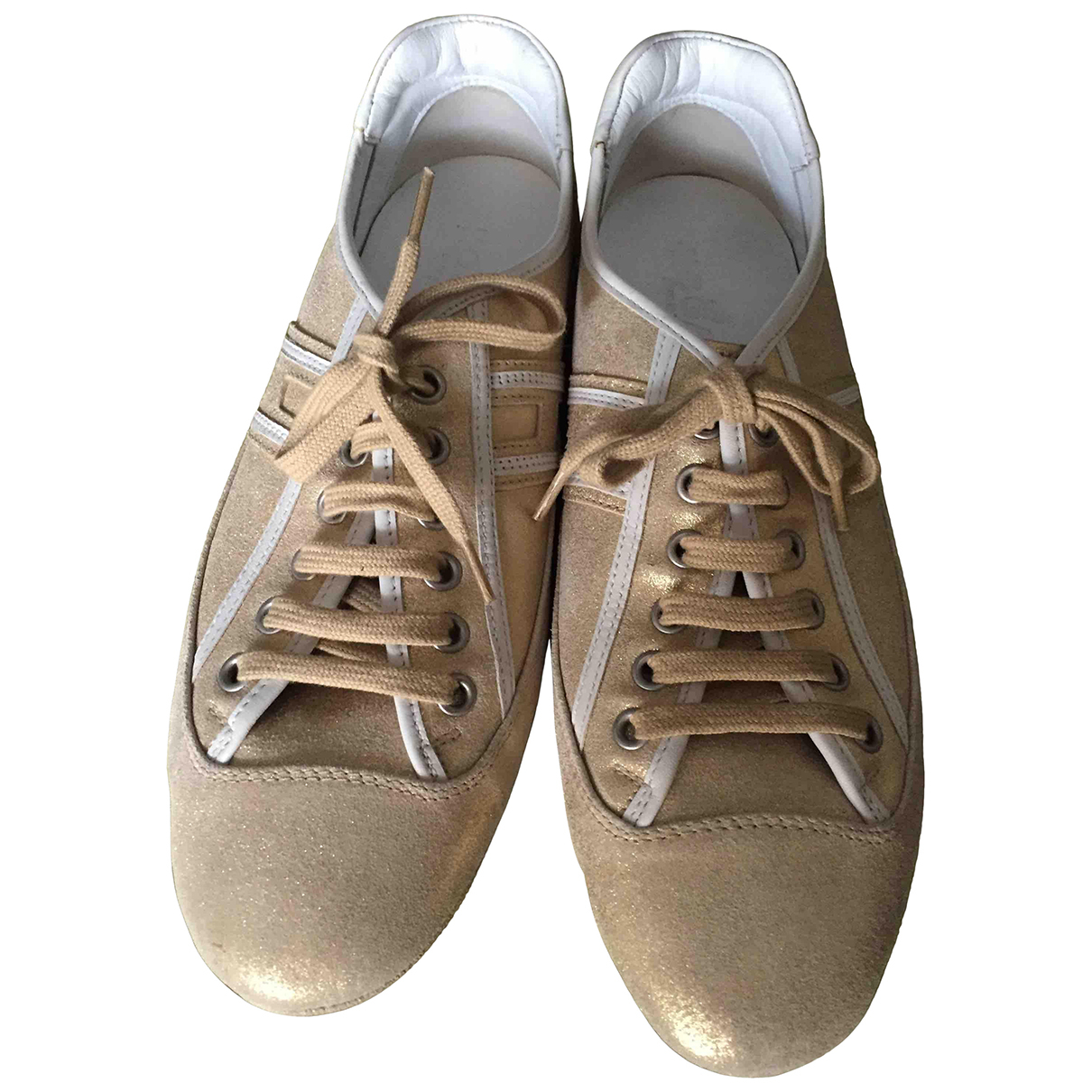 Hogan \N Gold Leather Trainers for Women 37.5 EU