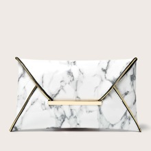 Marble Graphic Envelope Clutch Bag